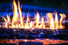 Burning birch firewood Royalty Free Stock Images