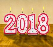 Burning birthday candles 2018. Burning birthday candles number 2018 Stock Photography