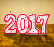 Burning birthday candles 2017 Stock Images