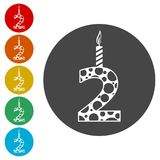 Burning birthday candles number 2. Burning birthday candles number, simple vector icons set Stock Image