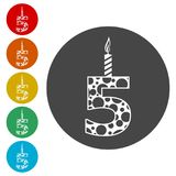 Burning birthday candles number 5. Burning birthday candles number, simple vector icons set Stock Images