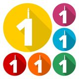 Burning birthday candles number 1. Vector icon Royalty Free Stock Images
