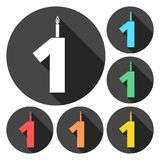 Burning birthday candles number 1. Vector icon Stock Photography