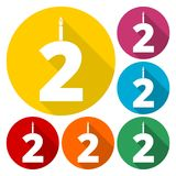 Burning birthday candles number 2. Vector icon Royalty Free Stock Photos