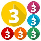 Burning birthday candles number 3. Vector icon Royalty Free Stock Photography