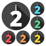 Burning birthday candles number 2. Vector icon Royalty Free Stock Image