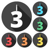 Burning birthday candles number 3. Vector icon Stock Photography