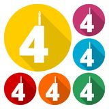 Burning birthday candles number 4. Vector icon Royalty Free Stock Image
