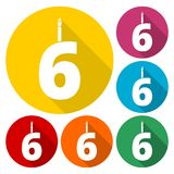 Burning birthday candles number 6. Vector icon Royalty Free Stock Photography