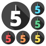 Burning birthday candles number 5. Vector icon Stock Photos