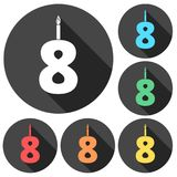 Burning birthday candles number 8. Vector icon Royalty Free Stock Photography