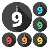 Burning birthday candles number 9. Vector icon Royalty Free Stock Photo