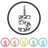 Burning birthday candles number 5, 6 Colors Included. Simple vector icons set Stock Image