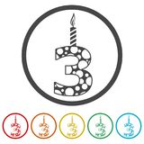 Burning birthday candles number 3, 6 Colors Included. Simple vector icons set Royalty Free Stock Photos