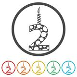 Burning birthday candles number 2, 6 Colors Included. Simple vector icons set Stock Image
