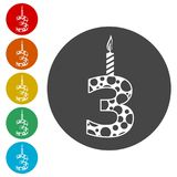 Burning birthday candles number 3. Burning birthday candles number, simple vector icons set Royalty Free Stock Photos