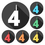 Burning birthday candles number 4. Vector icon Royalty Free Stock Photography