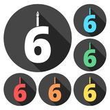 Burning birthday candles number 6. Vector icon Stock Photography