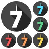 Burning birthday candles number 7. Vector icon Stock Photography