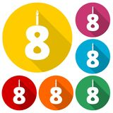 Burning birthday candles number 8. Vector icon Stock Photo
