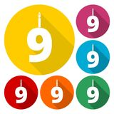 Burning birthday candles number 9. Vector icon Royalty Free Stock Photos