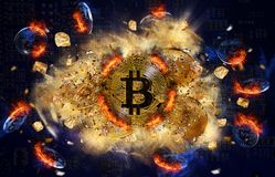 Burning bitcoin coin and mound of gold nuggets Stock Photo