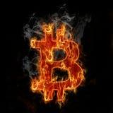 Burning bitcoin symbol. Abstract burning hot smoking euro symbol icon Stock Photo