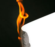 Burning blank paper for message. Time running out burning edge of paper Stock Photography