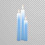 Burning blue candles decorative vector set. Aromatic blue glossy candles set. Vector 3D realistic  decorative candle sticks with burning flames on transparent Royalty Free Stock Photo