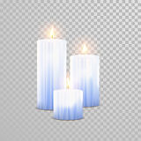 Burning blue candles decorative vector set. Aromatic blue glossy candles set. Vector 3D realistic  decorative candle sticks with burning flames on transparent Stock Photo