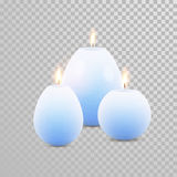 Burning blue candles decorative vector set. Aromatic blue glossy candles set. Vector 3D realistic  decorative candle sticks with burning flames on transparent Royalty Free Stock Images