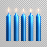 Burning blue candles decorative vector set. Aromatic blue glossy candles set. Vector 3D realistic  decorative candle sticks with burning flames on transparent Stock Photos