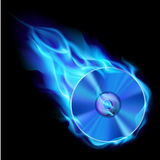 Burning blue CD. Illustration on black background for design Royalty Free Stock Images