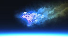 Burning blue fire meteorite. Falling to planet Royalty Free Stock Photo