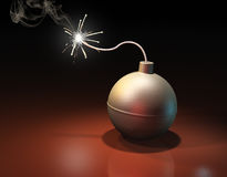Burning bomb. Burning spherical bomb on brown surface in darkness Stock Photos