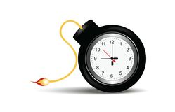 Burning bomb with clock timer. Burning bomb with clock timer isolated on white in flat design vector illustration Stock Photos