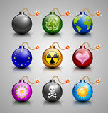 Burning bomb icons Stock Image