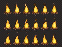 Burning bonfire animation. Hot fire, outdoor campfire and bonfires cartoon vector isolated sprites frames vector illustration