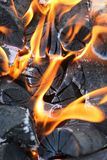 Burning bonfire with coals. A burning bonfire with coals. Smoldering coals with flaming fire stock photos