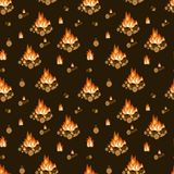Burning bonfire, firewood and flames on dark brown background seamless pattern. Camping, hiking activity. Cartoon vector. Illustration royalty free illustration