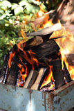 Burning bonfire outdoor on the summer garden Royalty Free Stock Images