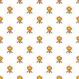 Burning bonfire pattern, cartoon style. Burning bonfire pattern. Cartoon illustration of burning bonfire vector pattern for web Stock Images