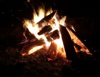 Burning Bonfire. Relaxing on the bonfire Stock Image