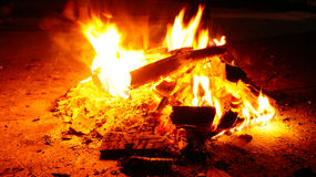 Burning bonfire stock photo
