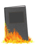Burning book - in flames. Blank cover. Stock Photos