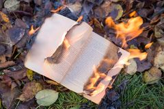 The book burns. Stock Images