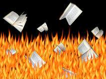 Burning Books. Books falling into the flames Royalty Free Stock Image