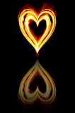 burning brandhjärtavalentiner Royaltyfria Bilder