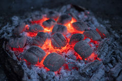 Burning briquettes in the evening light. Close-up with soft bokeh Royalty Free Stock Images