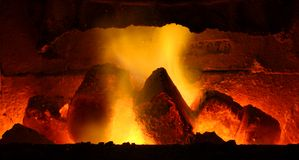 Burning brown coal Stock Photos